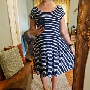 A navy and white striped dress